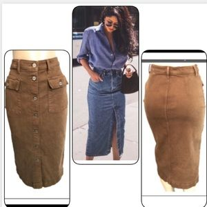 VTG VINTAGE BANANA REPUBLIC LONG BROWN JEAN SKIRT